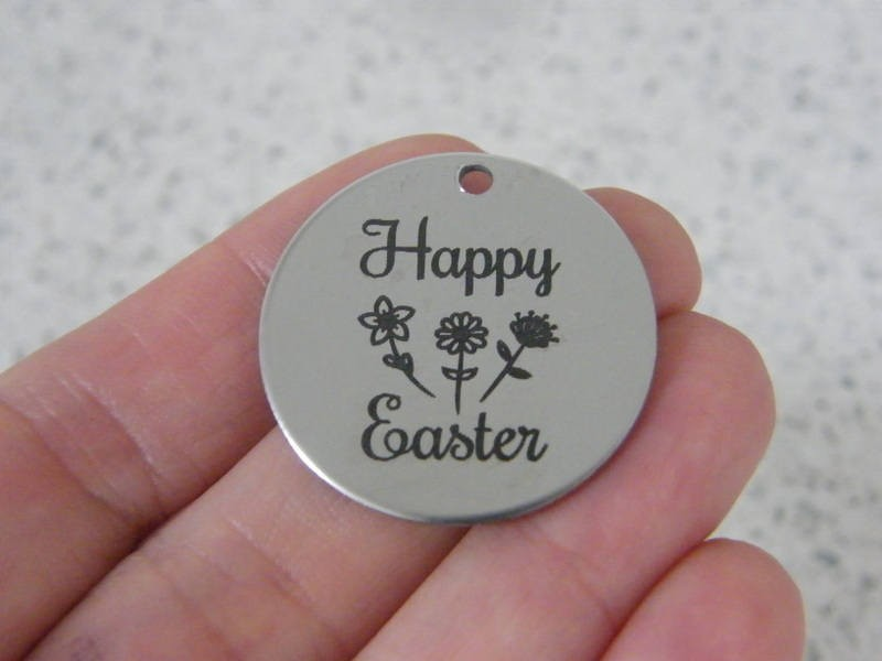 1 Happy Easter stainless steel pendant JS6-17