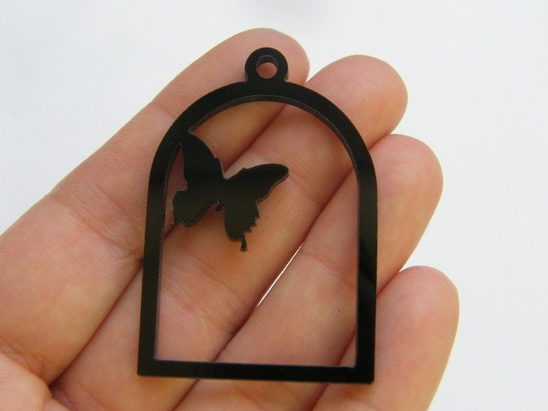 2 Butterfly charms black acrylic A935