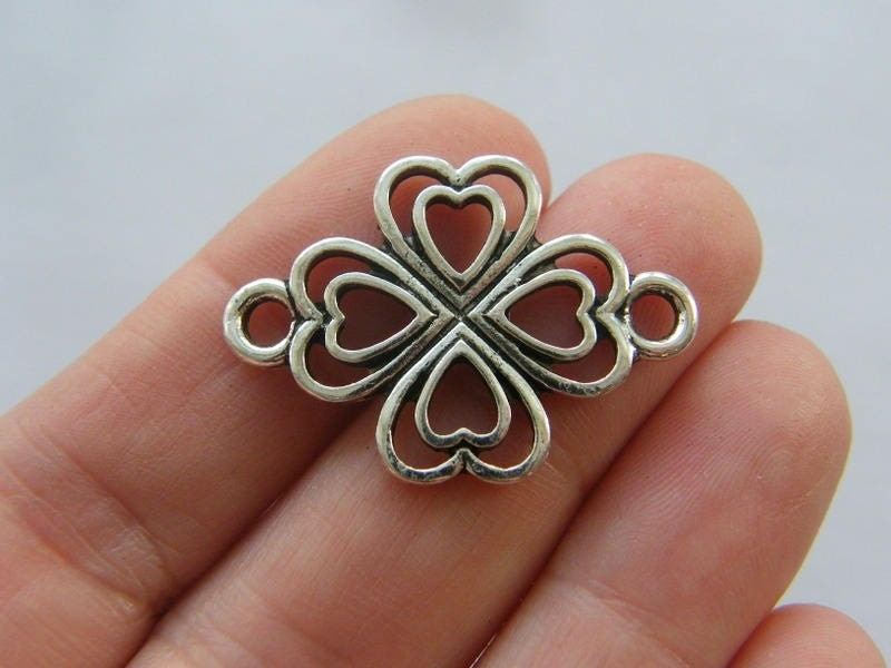 6 Four leaf clover connector charms antique silver tone L241