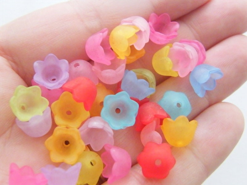 BULK 300 Random mixed flower bead caps acrylic plastic  ABC6