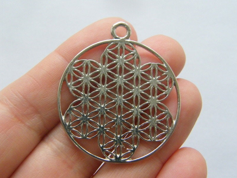2 Flower of life pendants silver tone M181