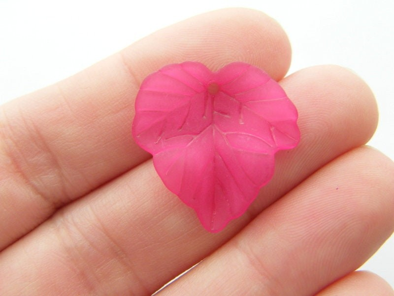 50 Dark pink frosted acrylic leaf charms