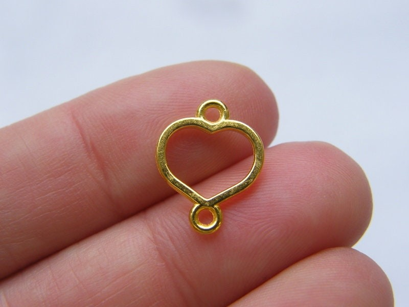 8 Heart connector charms gold tone GC476