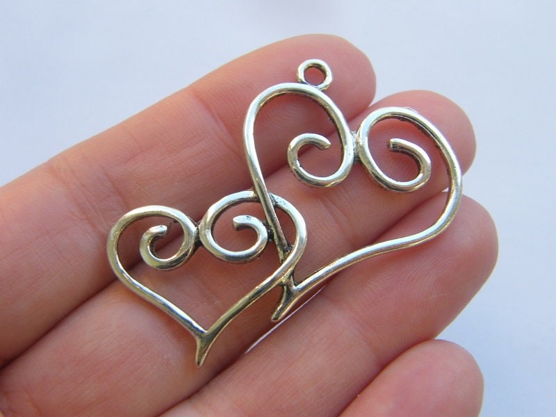 4 Hearts charms antique silver tone H209