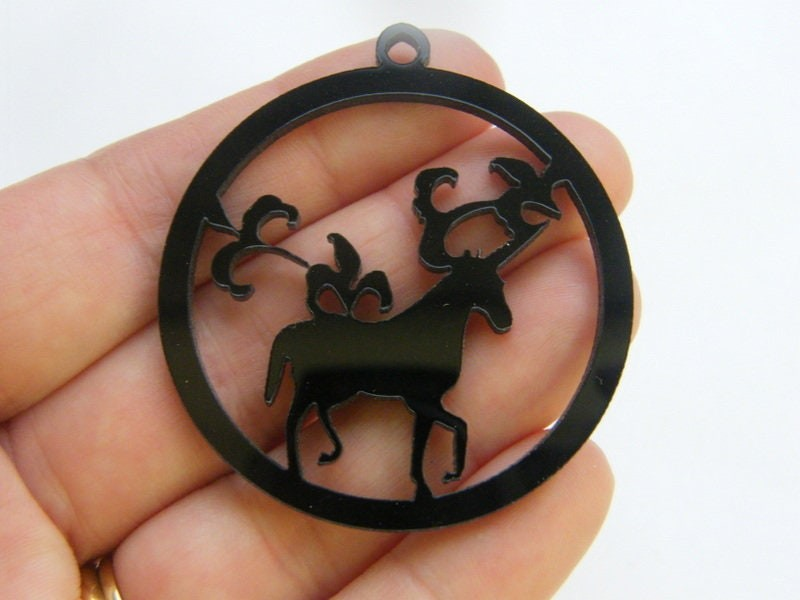 2 Unicorn charms black acrylic A933