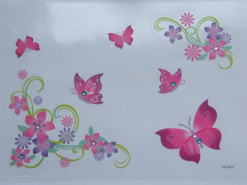 1 Sheet flowers and butterfly decals stickers