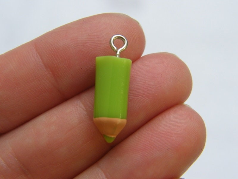 4 Green pencil charms resin PT156