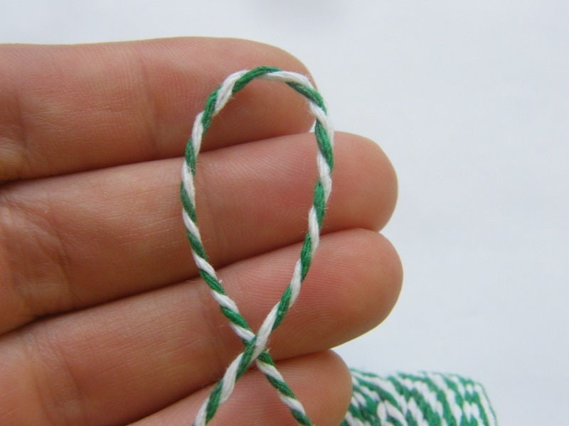 10 Meter cotton grass green and white twisted cord