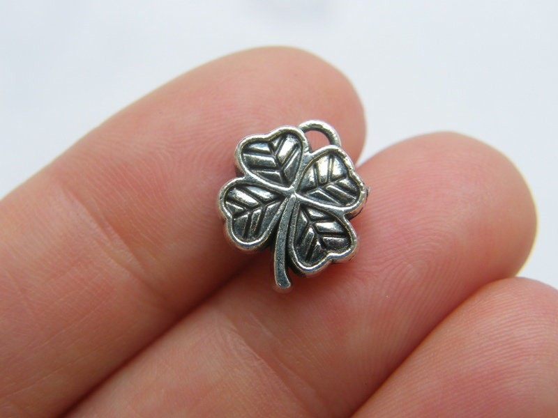 8 Four leaf clover charm or spacer bead antique silver tone L250