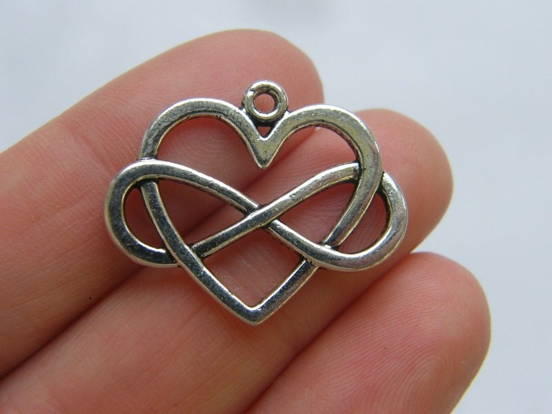 6 Infinity heart charms antique silver tone I183