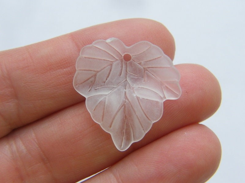 50 White frosted acrylic leaf charms