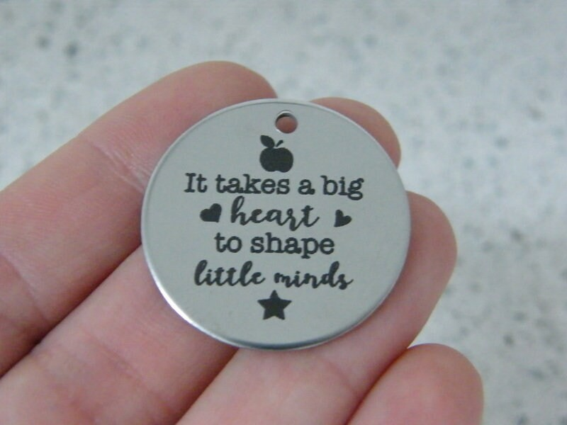 1 It takes a big heart to shape little minds stainless steel pendant JS6-37
