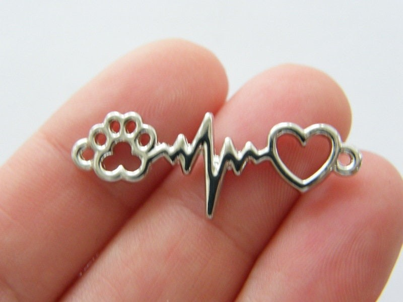 4 Heart rate beat heart paw print connector charms silver tone A995