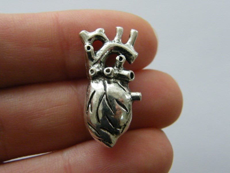 2 Human heart organ charms antique silver tone MD126