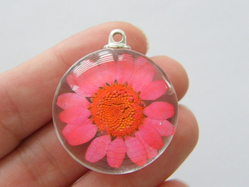 1 Dried flower red glass pendant F257