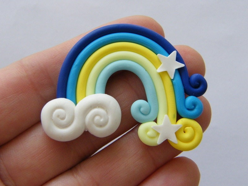 2 Rainbow blue embellishment  polymer clay S140