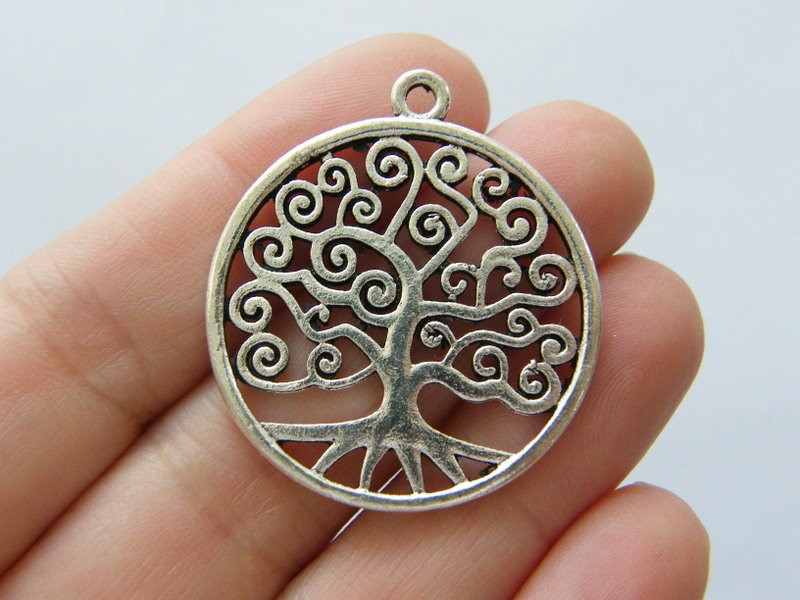 2 Tree charms antique silver tone T129