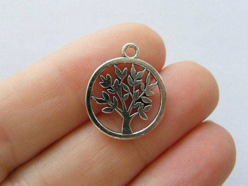 8 Tree charms antique silver tone T128