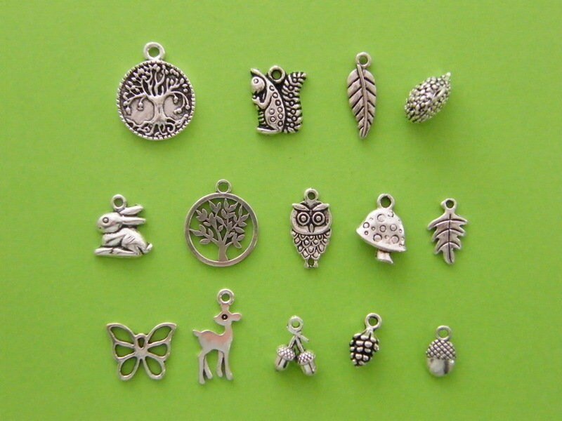 The Woodland Collection - 14 different antique silver tone charms
