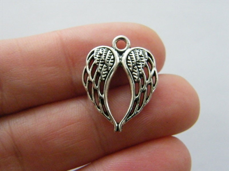 BULK 50 Angel wing charms antique silver tone AW200