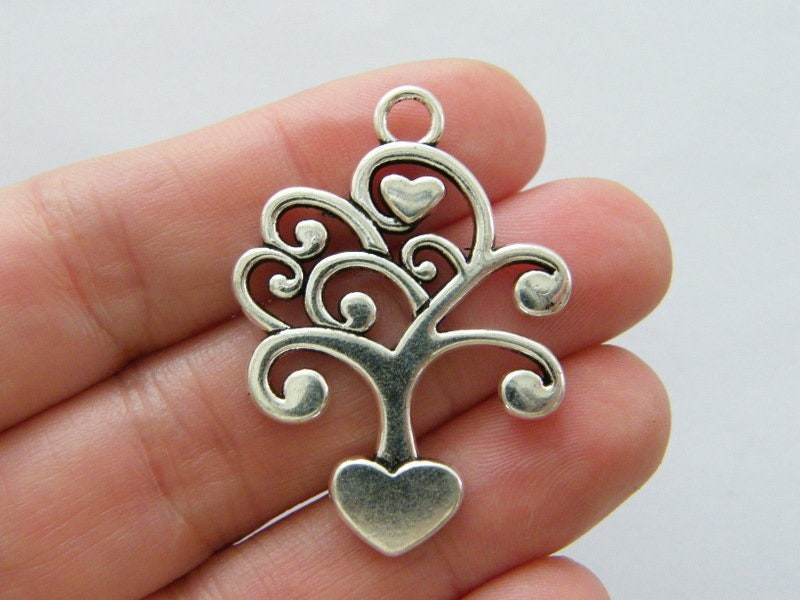 4 Tree charms antique silver tone T133