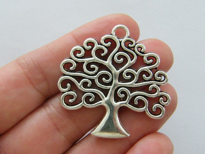 2 Tree charms antique silver tone T131