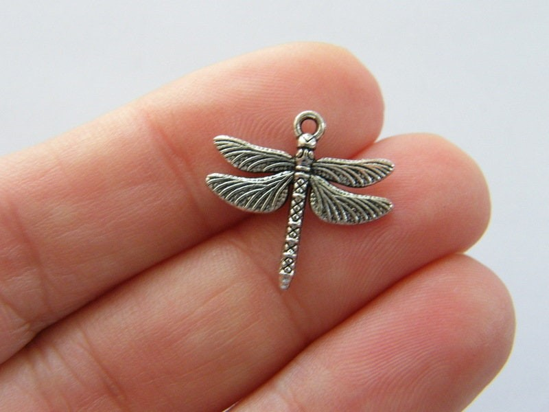BULK 50 Dragonfly charms antique silver tone A1004