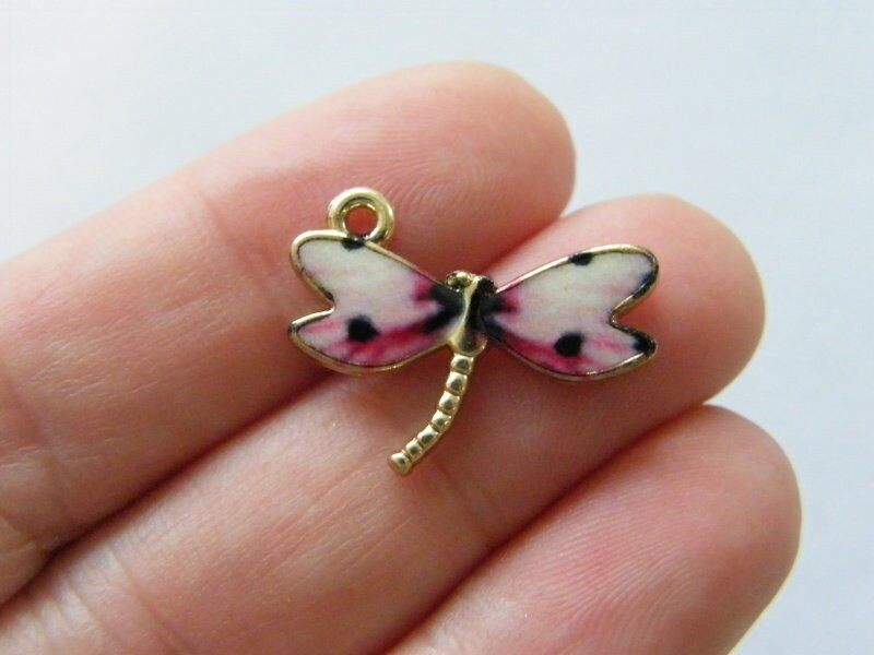 4 Dragonfly  pink white charms gold tone GC10