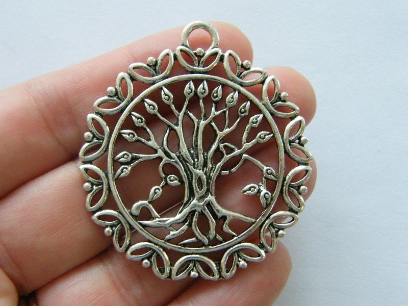 1 Tree pendant antique silver tone T138