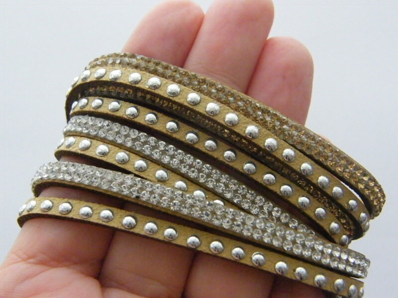 1 Tan suede rhinestone bangle bracelet NB3