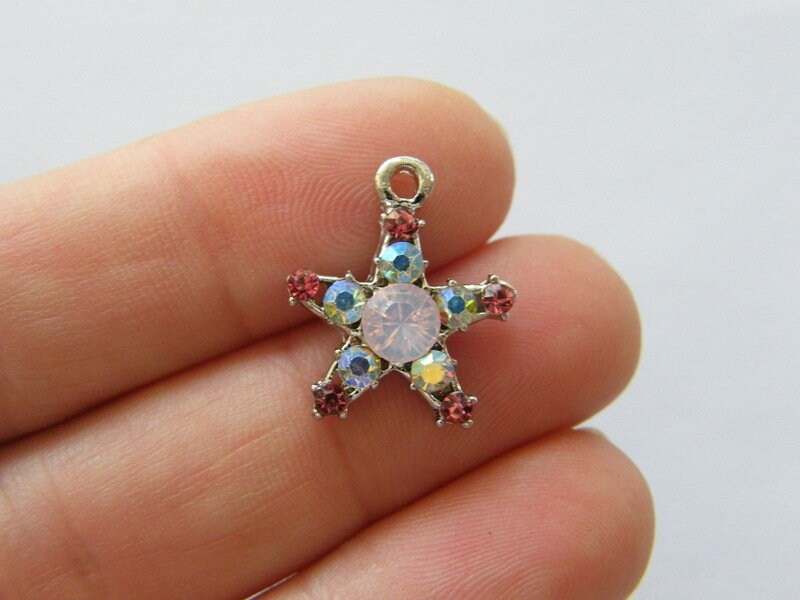2 Star pink rhinestone pendants silver tone S136