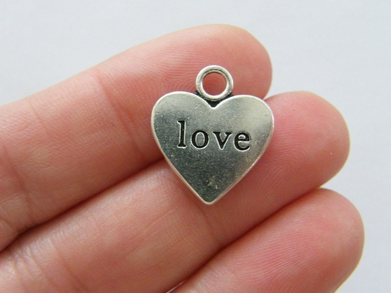 8 Love heart charms antique silver tone H226
