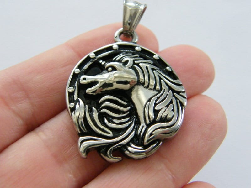 1 Unicorn pendant antique silver tone stainless steel A1016