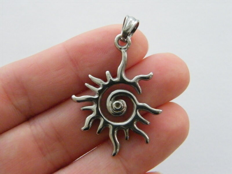 1  Sun pendant antique silver tone stainless steel S131