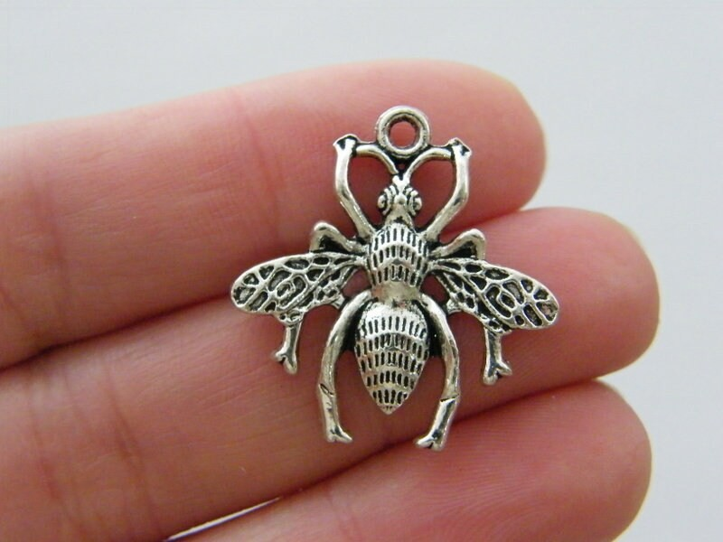 6 Bee charms antique silver tone A147
