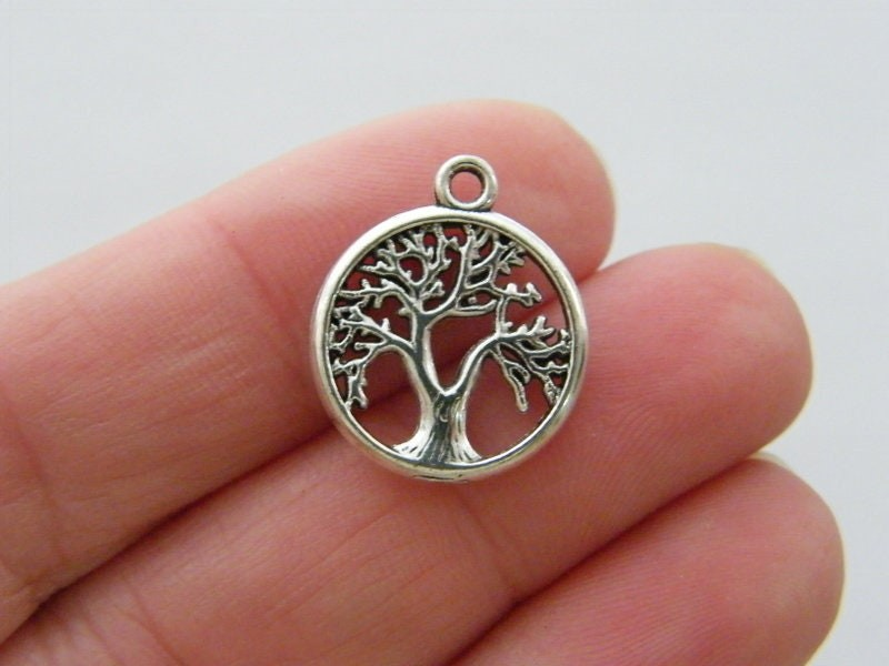 BULK 50 Tree charms antique  antique silver tone T140