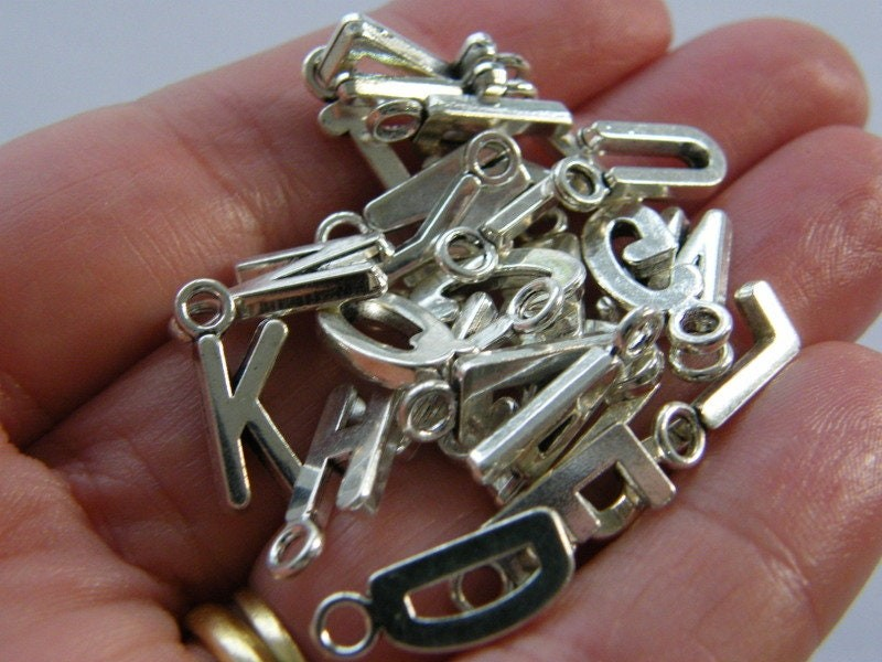 26 Letter whole alphabet charms antique silver tone NDS