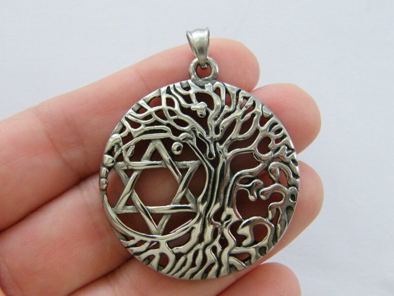 1 Tree star of David pendant antique silver tone stainless steel R173