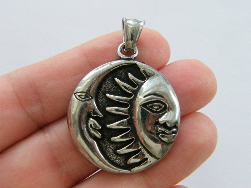 1  Moon sun pendant antique silver tone stainless steel M103