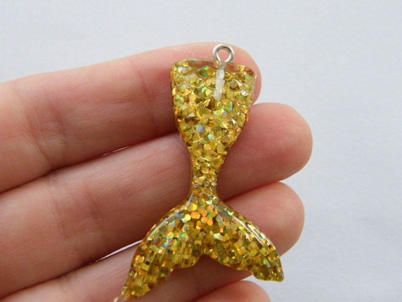 BULK 10 Gold mermaid tail  charms resin SC286