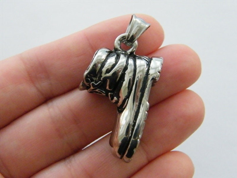 1  Boot pendant antique silver tone stainless steel CA236