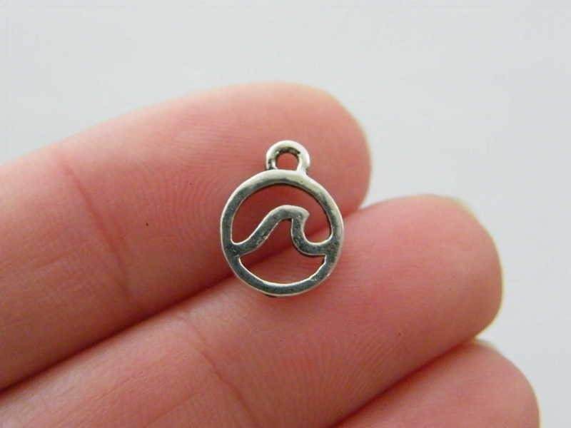 12 Wave charms  antique silver tone SC288