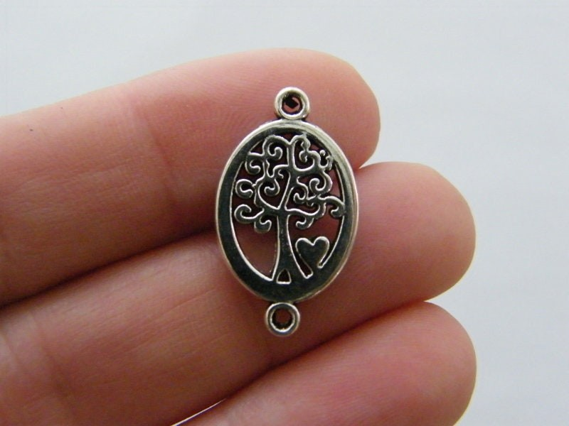 8 Tree connector charms antique silver tone T145