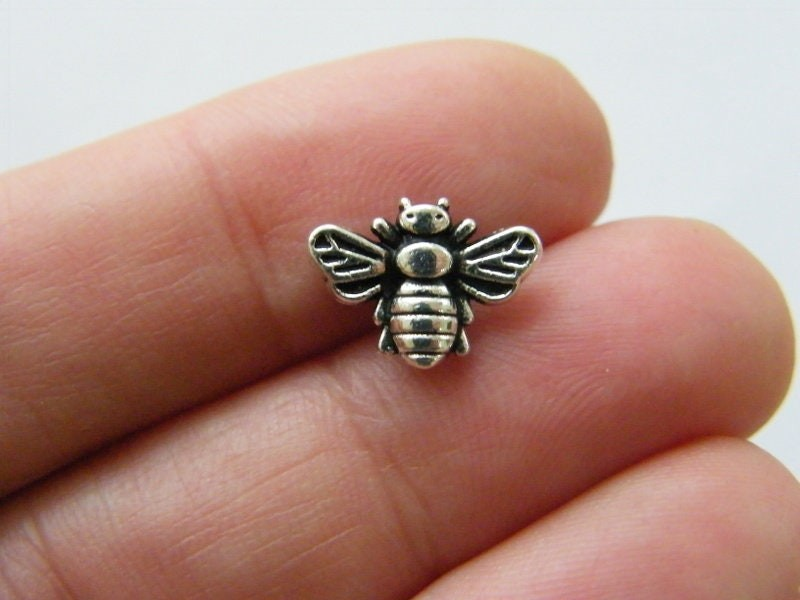 10 Bee spacer beads antique silver tone A1067