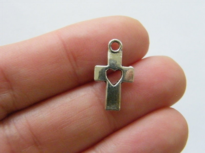 8 Cross heart charms antique silver tone C93