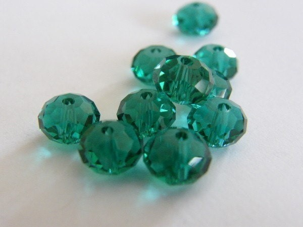 72 Beads -  peacock green rondelle faceted crystal glass B81