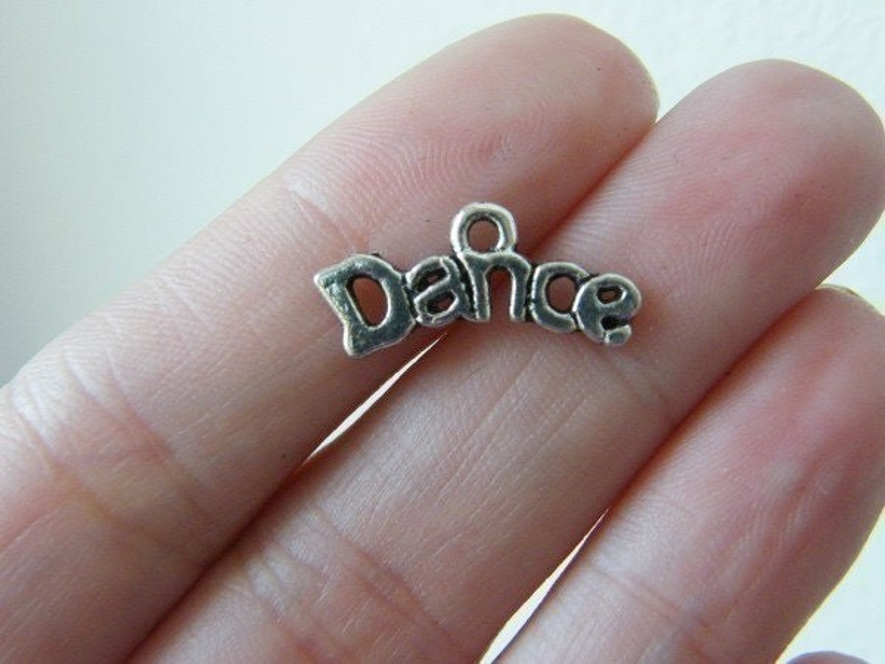 BULK 50 Dance charms antique silver tone FB30
