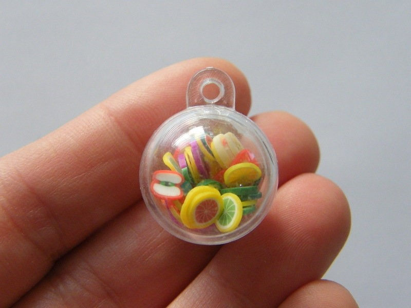 BULK 10 Fruit polymer clay plastic can open  pendants FD398