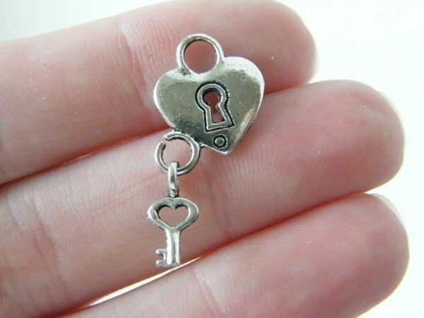 BULK 50 Heart lock and key charms  antique silver tone H81