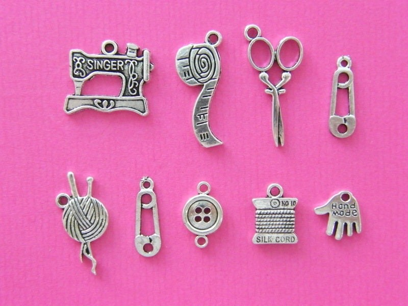 The Needlework Collection - 11  antique silver tone charms